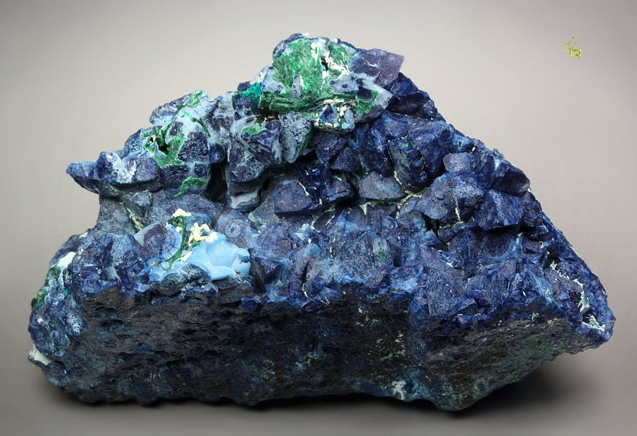 SHATTUCKITE pseudomorph after DIOPTASE after CALCITE, MALACHITE